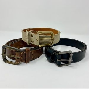 J. Crew (2) Leather Belts Lot of 3 Blck Brown Gold